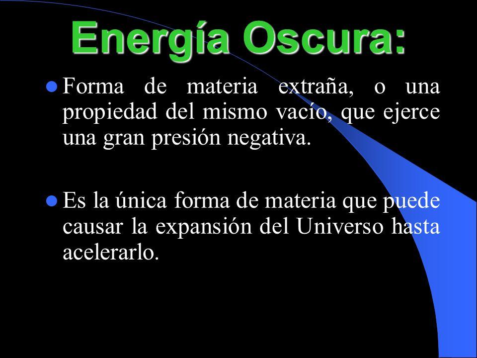 Energía Oscura: Forma de materia extraña, o una propiedad del mismo vacío, que ejerce una gran presión negativa.
