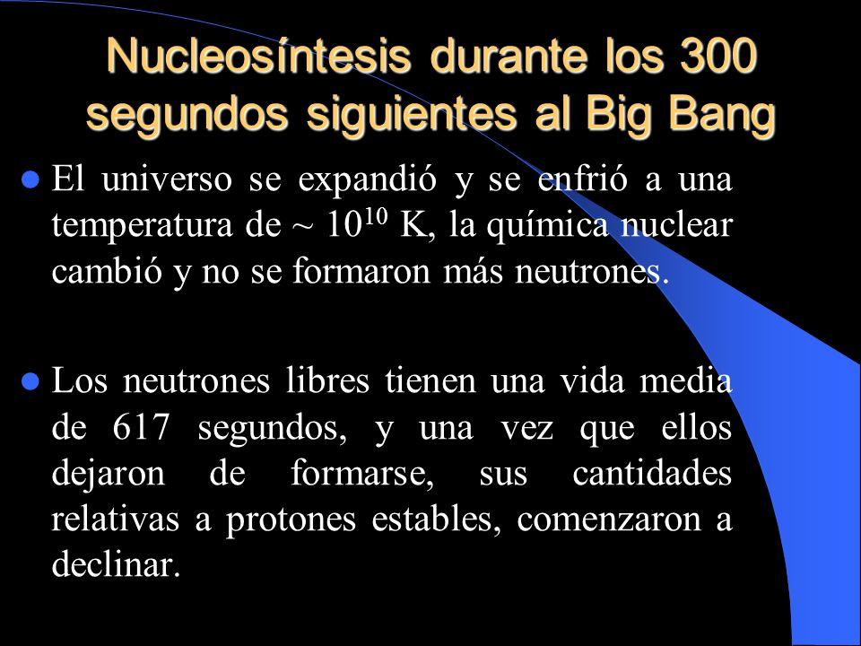 Nucleosíntesis durante los 300 segundos siguientes al Big Bang