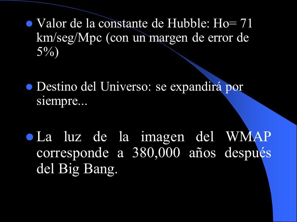 Valor de la constante de Hubble: Ho= 71 km/seg/Mpc (con un margen de error de 5%)