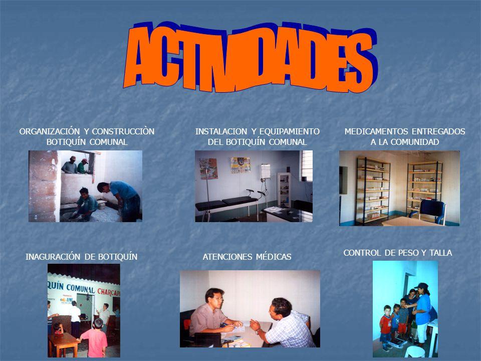ACTIVIDADES ORGANIZACIÓN Y CONSTRUCCIÒN BOTIQUÍN COMUNAL