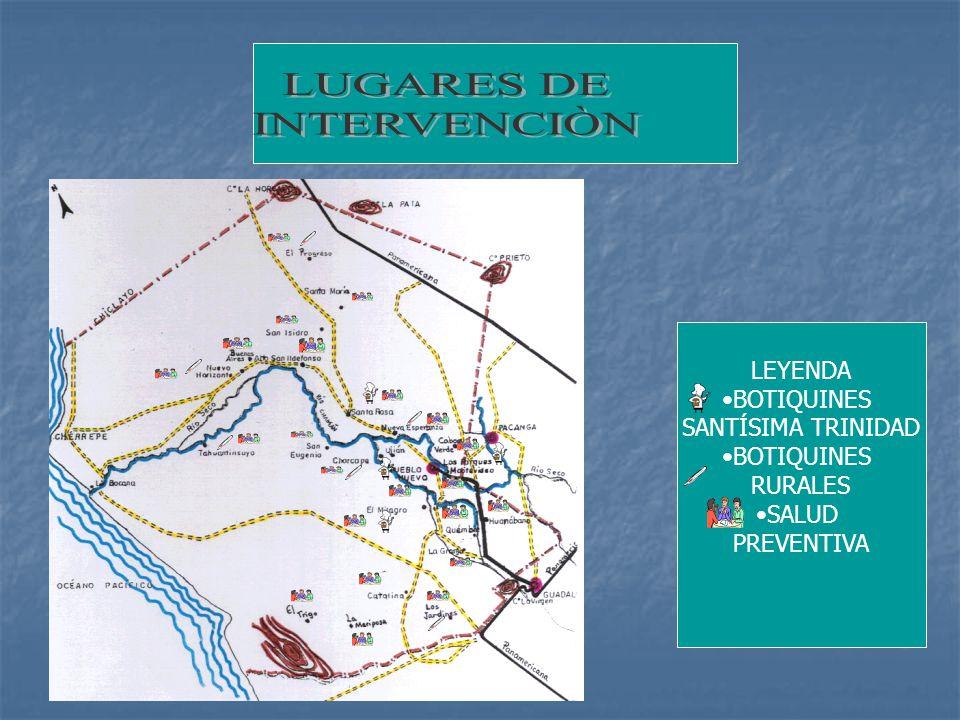 LUGARES DE INTERVENCIÒN LEYENDA BOTIQUINES SANTÍSIMA TRINIDAD RURALES