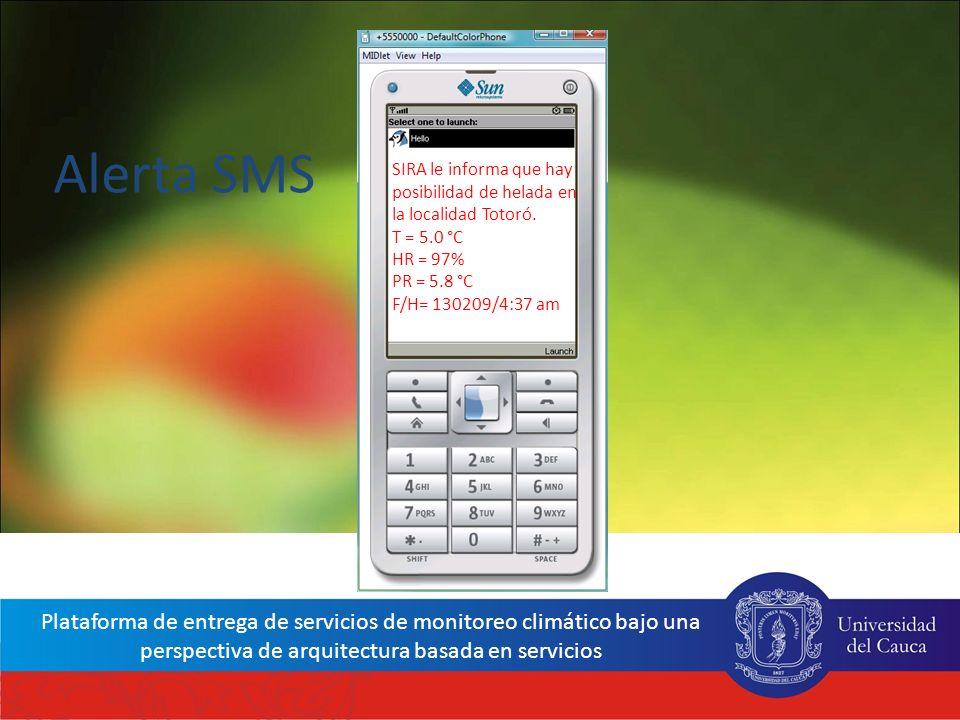 Alerta SMS SIRA le informa que hay posibilidad de helada en la localidad Totoró. T = 5.0 °C. HR = 97%