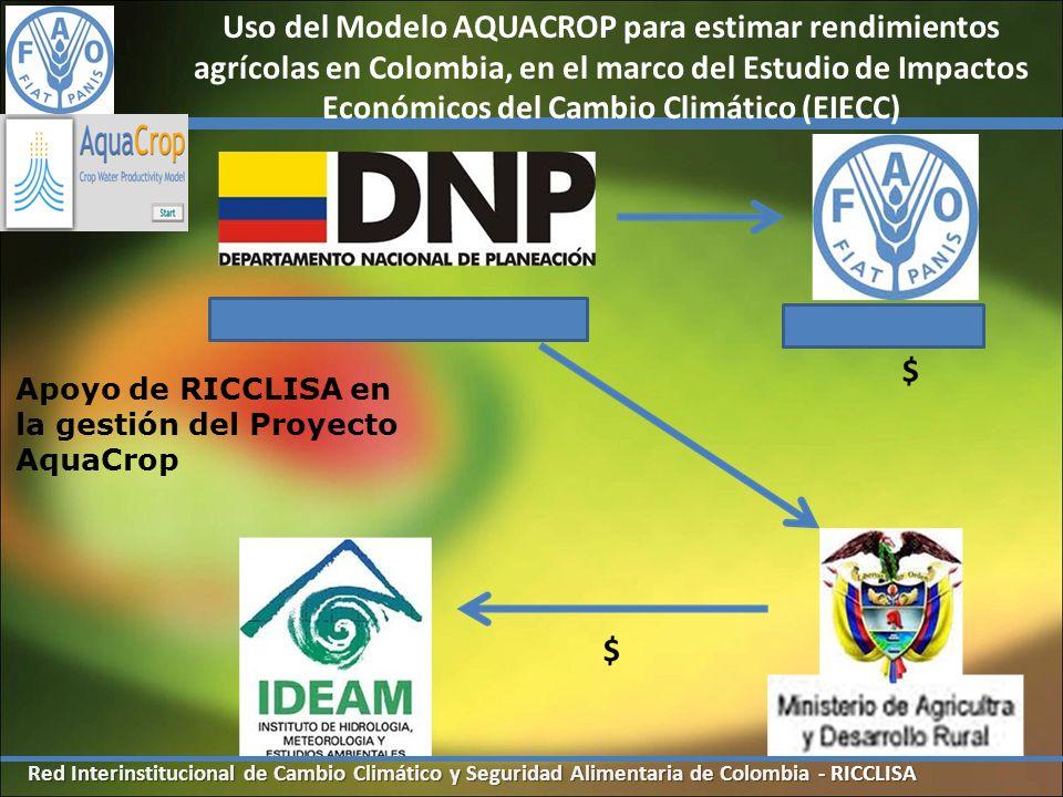 Uso del Modelo AQUACROP para estimar rendimientos agrícolas en Colombia, en el marco del Estudio de Impactos Económicos del Cambio Climático (EIECC)