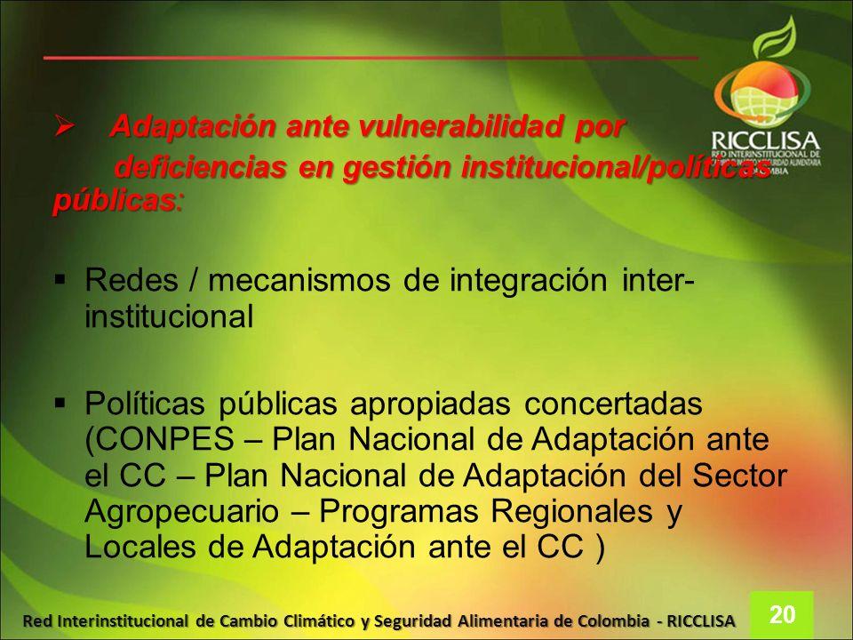 Redes / mecanismos de integración inter-institucional