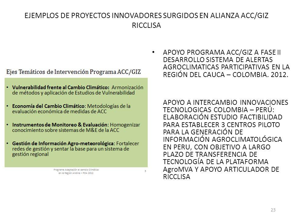 EJEMPLOS DE PROYECTOS INNOVADORES SURGIDOS EN ALIANZA ACC/GIZ RICCLISA