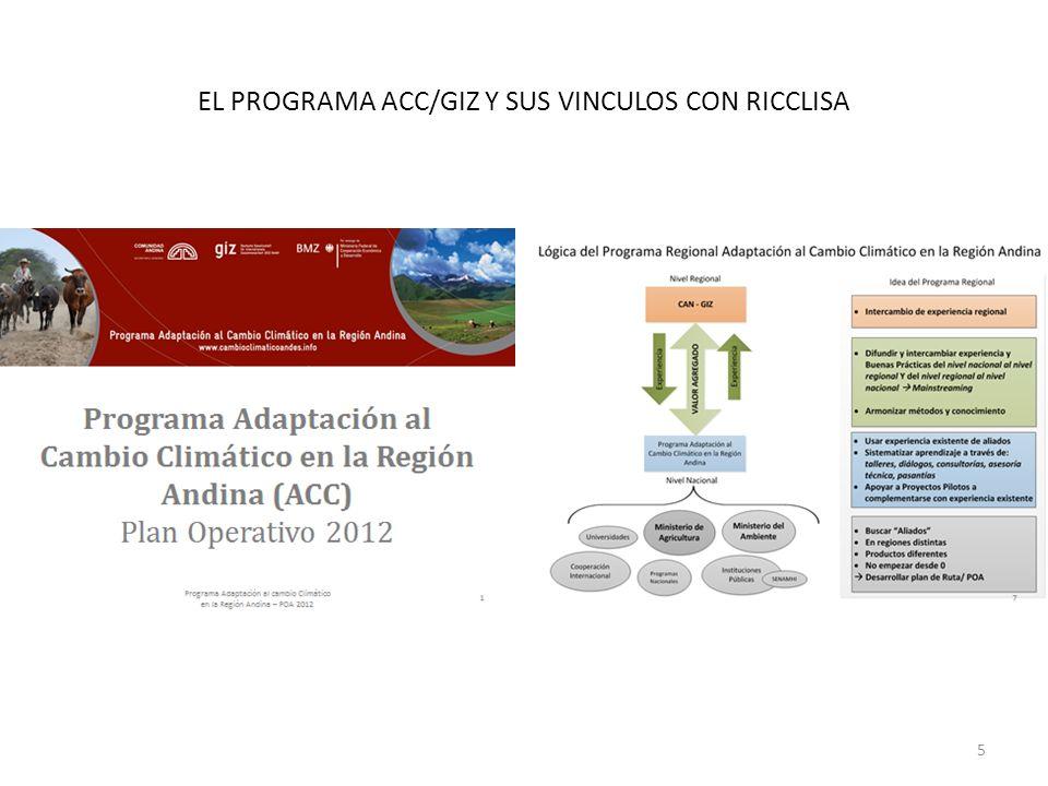 EL PROGRAMA ACC/GIZ Y SUS VINCULOS CON RICCLISA