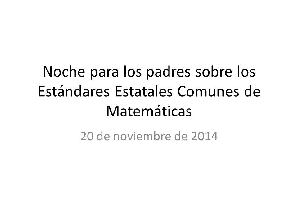 Noche para los padres sobre los Estándares Estatales Comunes de Matemáticas