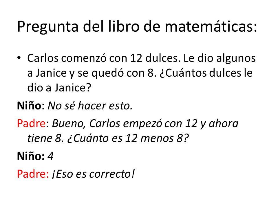 Pregunta del libro de matemáticas: