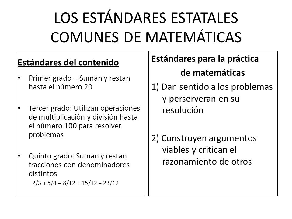 LOS ESTÁNDARES ESTATALES COMUNES DE MATEMÁTICAS