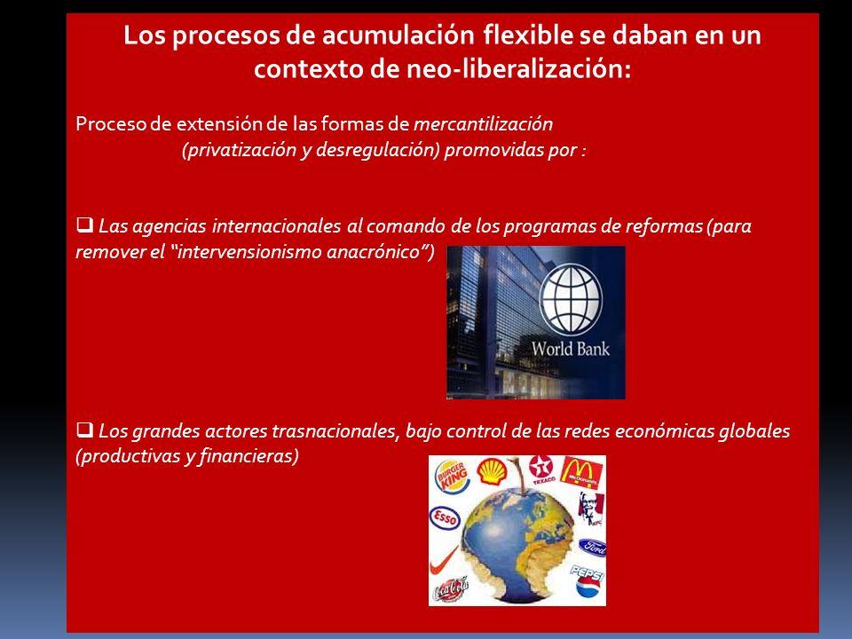 Los procesos de acumulación flexible se daban en un contexto de neo-liberalización: