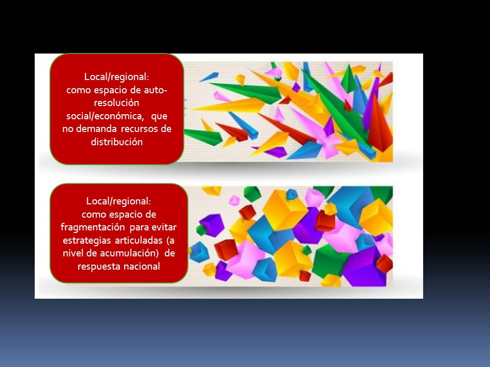Local/regional: como espacio de auto-resolución social/económica, que no demanda recursos de distribución.