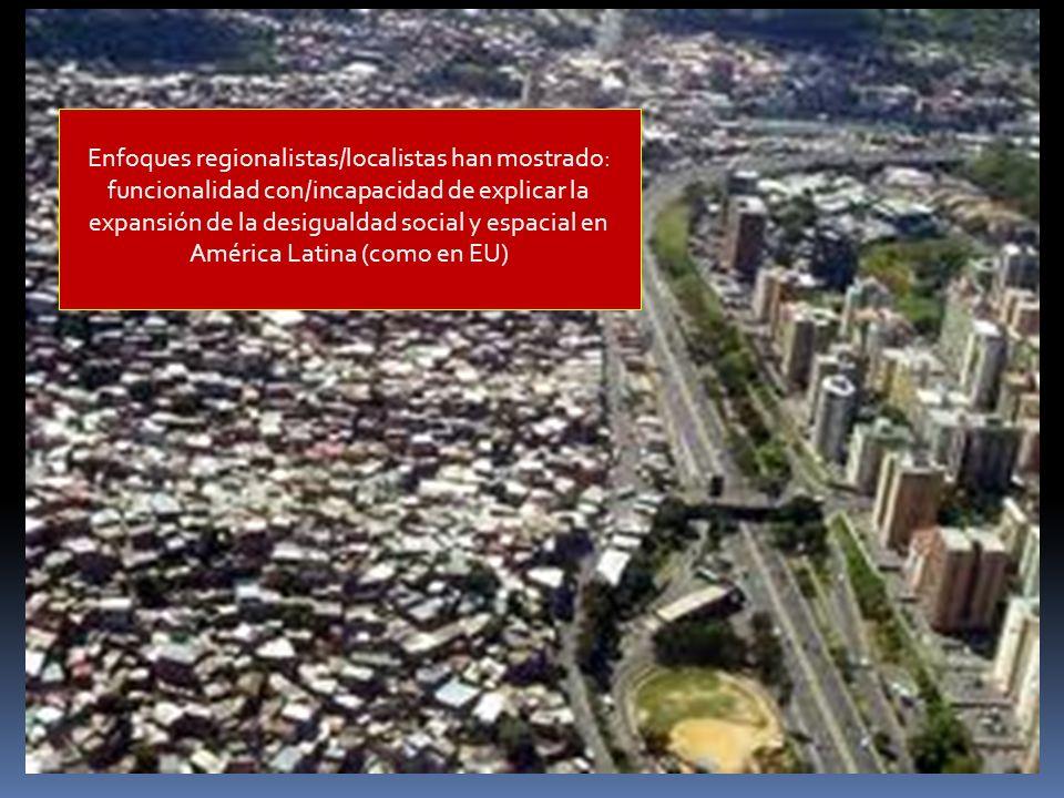 Enfoques regionalistas/localistas han mostrado:
