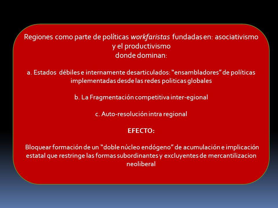 Regiones como parte de políticas workfaristas fundadas en: asociativismo y el productivismo