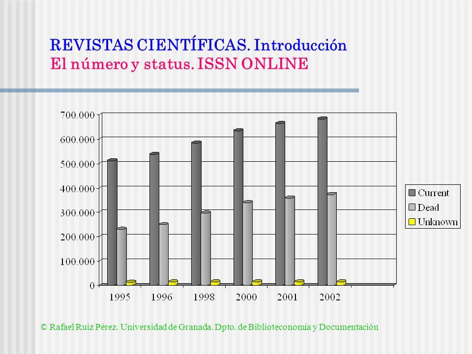 REVISTAS CIENTÍFICAS. Introducción El número y status. ISSN ONLINE