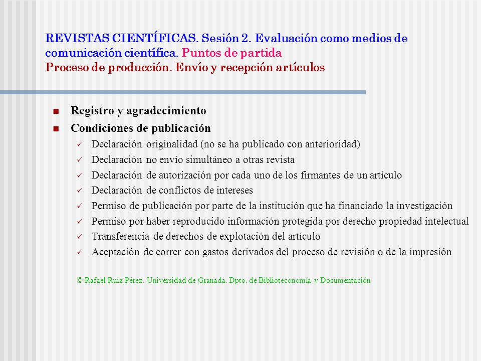 REVISTAS CIENTÍFICAS. Sesión 2