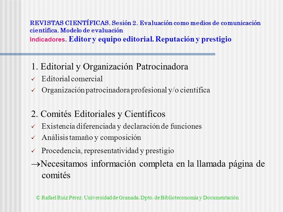 1. Editorial y Organización Patrocinadora