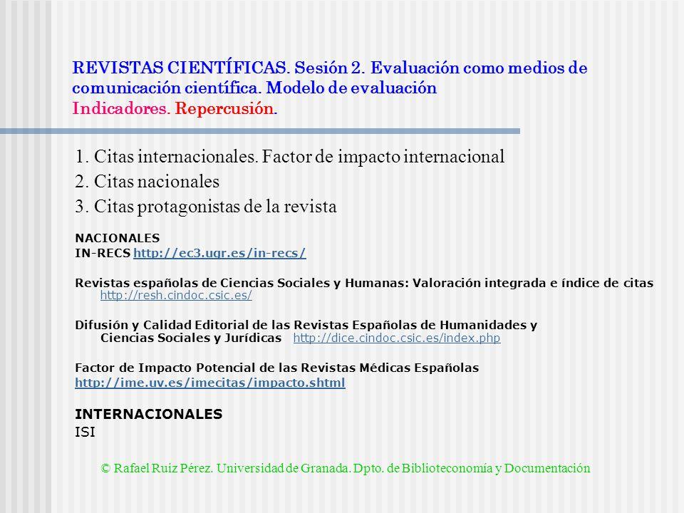 1. Citas internacionales. Factor de impacto internacional