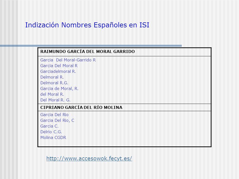 Indización Nombres Españoles en ISI
