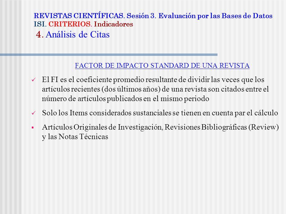 FACTOR DE IMPACTO STANDARD DE UNA REVISTA