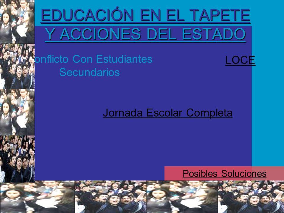 EDUCACIÓN EN EL TAPETE Y ACCIONES DEL ESTADO