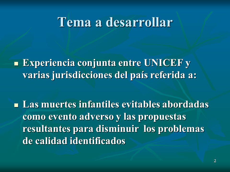 Tema a desarrollar Experiencia conjunta entre UNICEF y varias jurisdicciones del país referida a:
