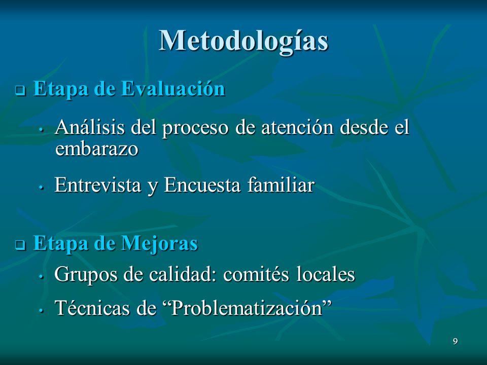 Metodologías Etapa de Evaluación