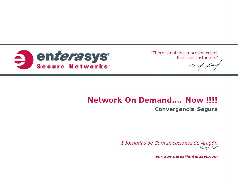 Network On Demand…. Now !!!! I Jornadas de Comunicaciones de Aragón