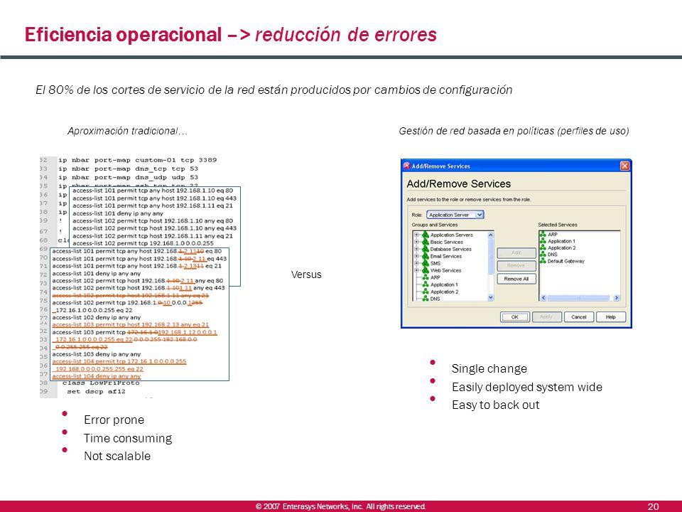 Eficiencia operacional –> reducción de errores