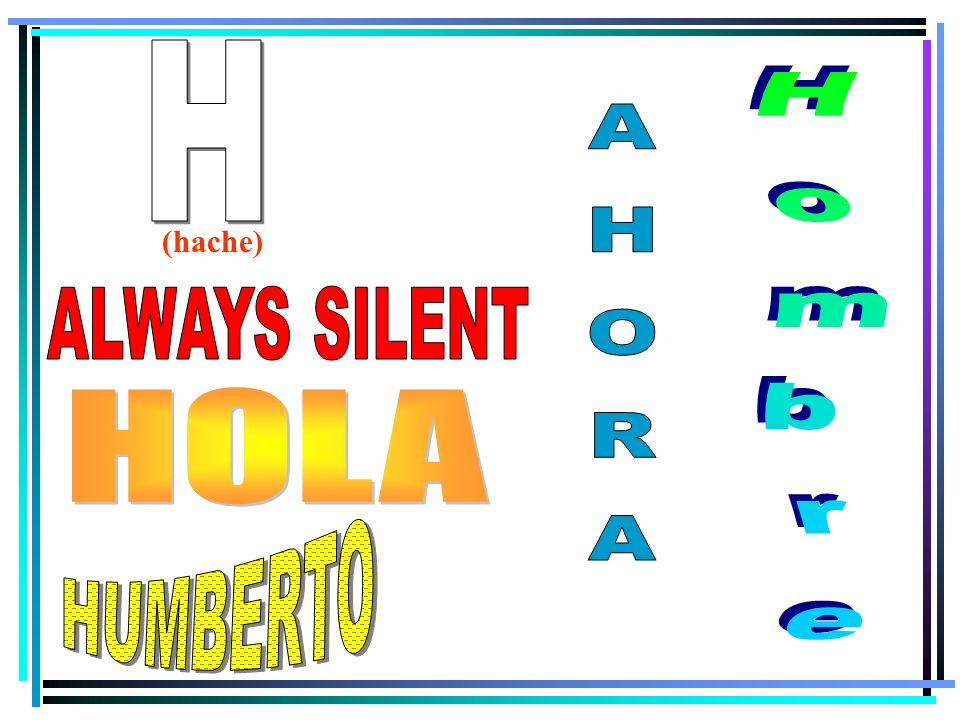 H (hache) ALWAYS SILENT Hombre AHORA HOLA HUMBERTO