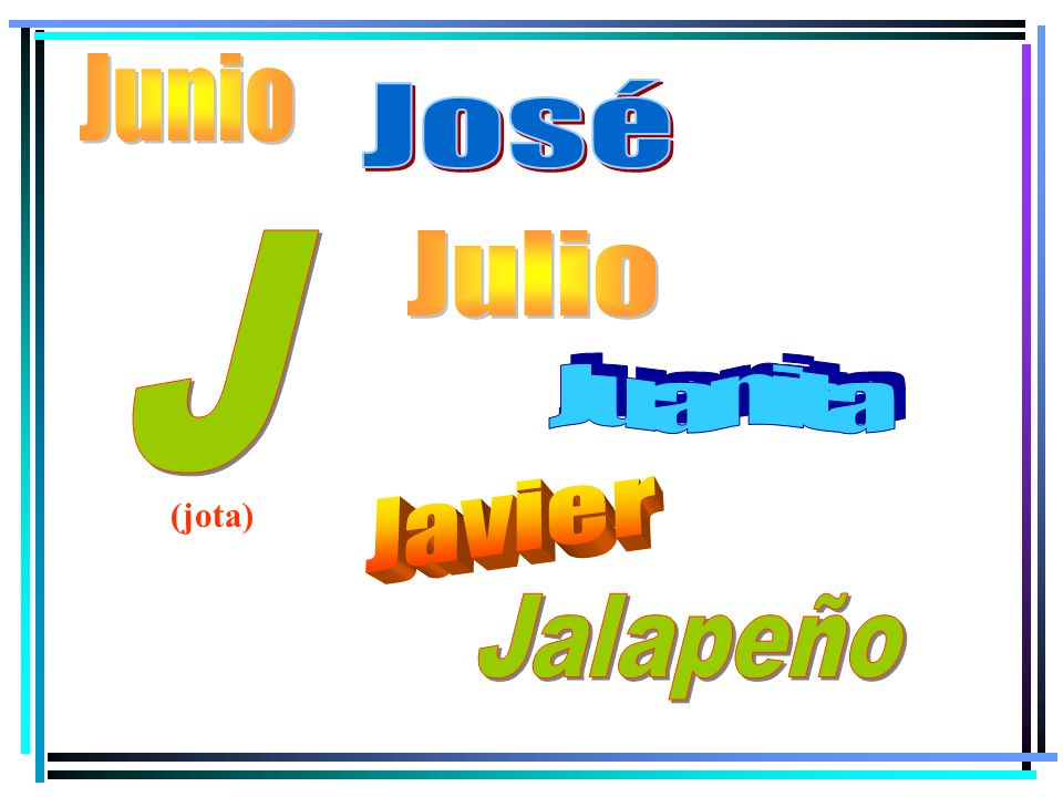 Junio José J Julio Juanita Javier (jota) Jalapeño