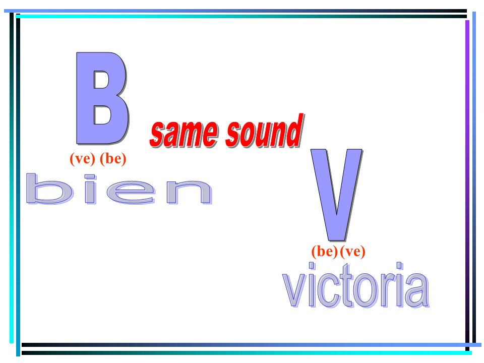 B same sound (ve) (be) V bien (be) (ve) victoria