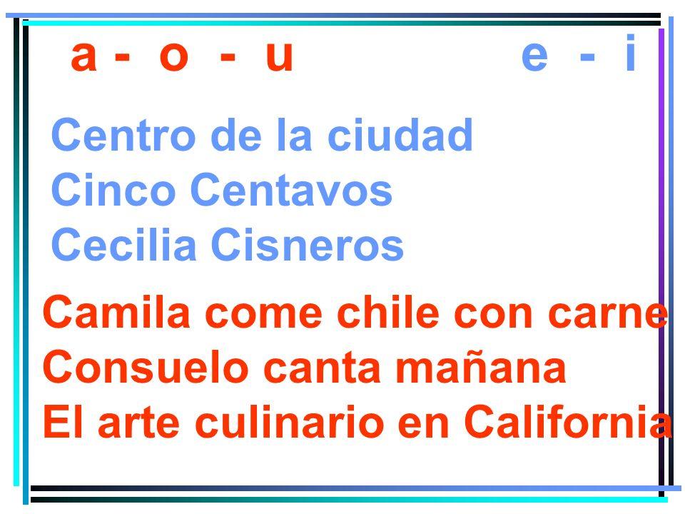 a - o - u e - i Centro de la ciudad Cinco Centavos Cecilia Cisneros