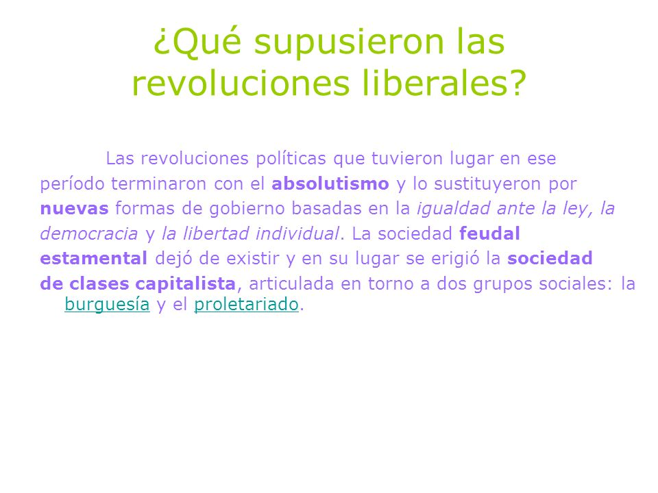 ¿Qué supusieron las revoluciones liberales