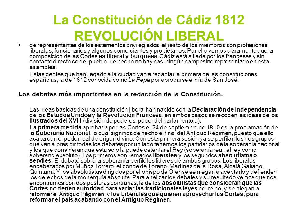 La Constitución de Cádiz 1812 REVOLUCIÓN LIBERAL