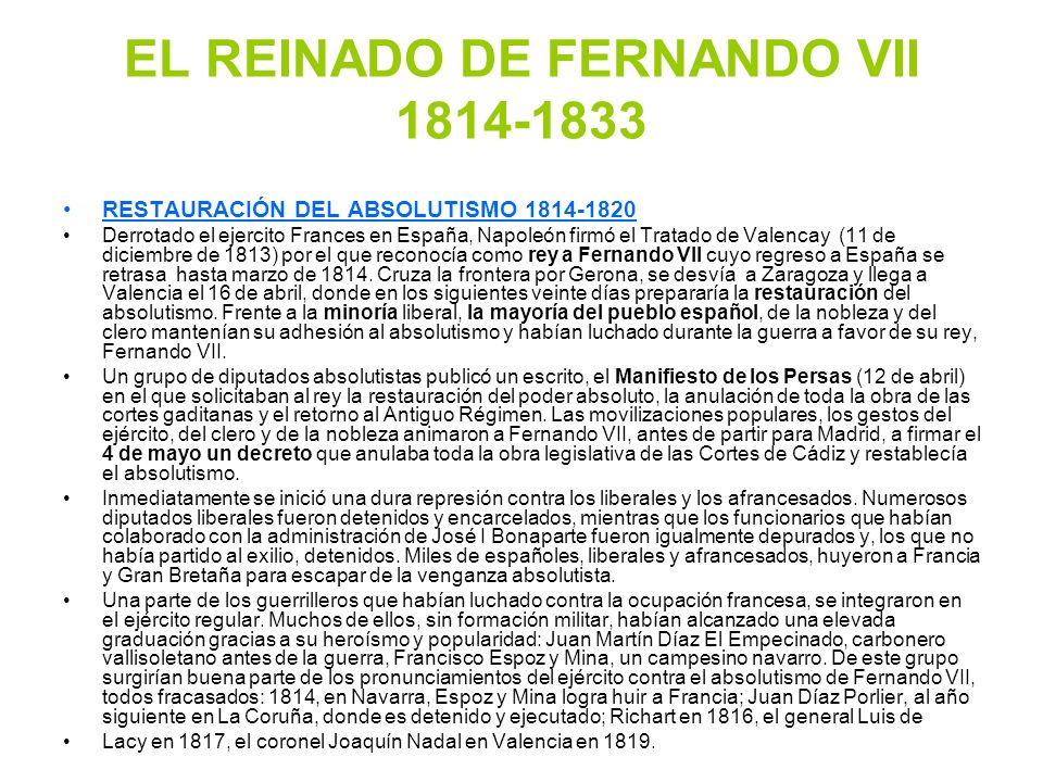EL REINADO DE FERNANDO VII 1814-1833