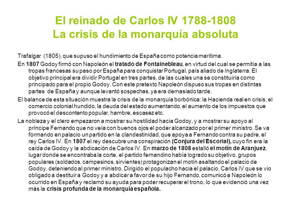 El reinado de Carlos IV 1788-1808 La crisis de la monarquía absoluta