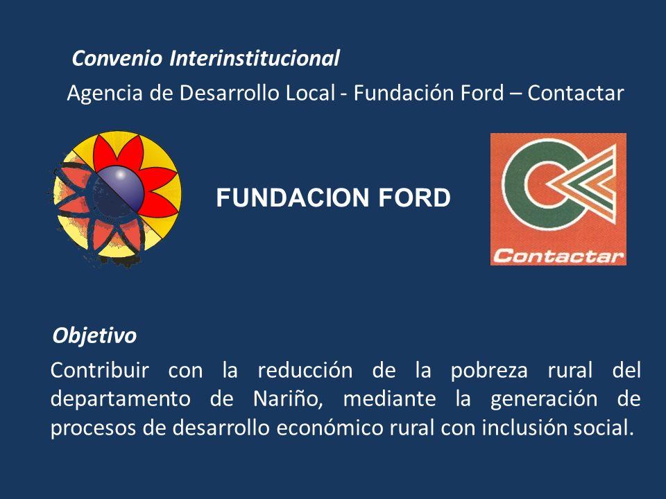 Convenio Interinstitucional Agencia de Desarrollo Local - Fundación Ford – Contactar Objetivo Contribuir con la reducción de la pobreza rural del departamento de Nariño, mediante la generación de procesos de desarrollo económico rural con inclusión social.