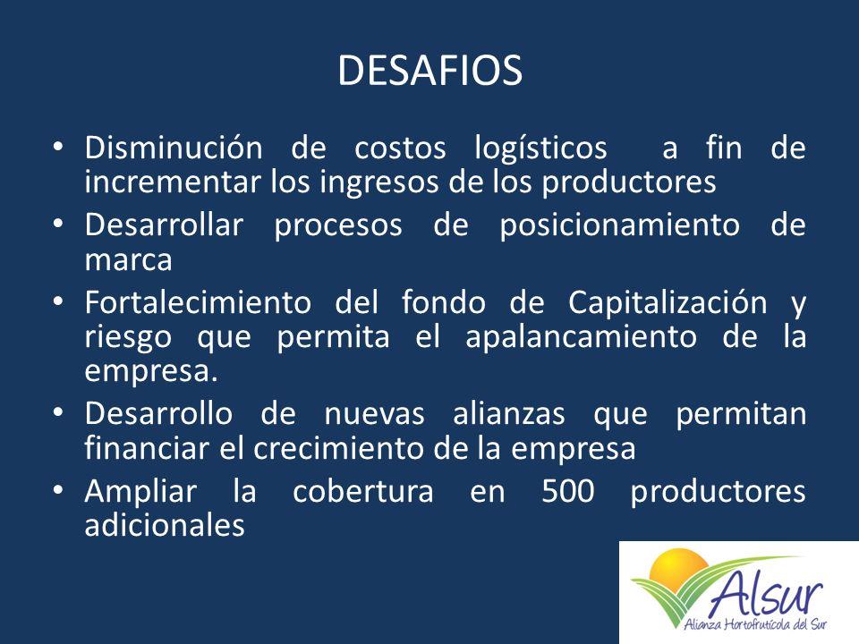 DESAFIOS Disminución de costos logísticos a fin de incrementar los ingresos de los productores. Desarrollar procesos de posicionamiento de marca.