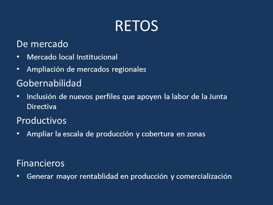 RETOS De mercado Gobernabilidad Productivos Financieros