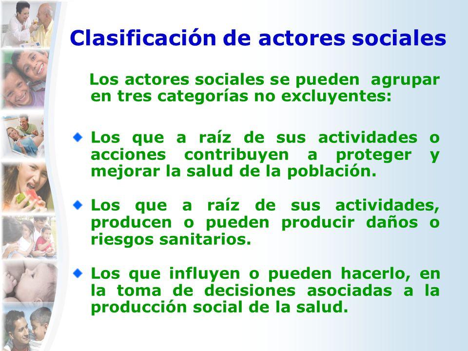 Clasificación de actores sociales