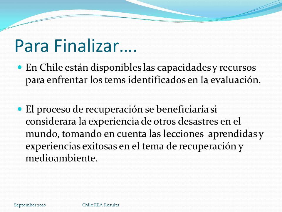 Para Finalizar…. En Chile están disponibles las capacidades y recursos para enfrentar los tems identificados en la evaluación.