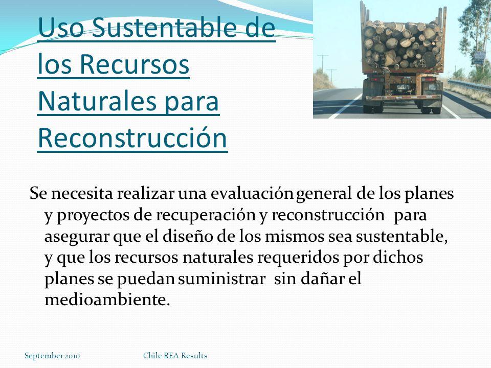 Uso Sustentable de los Recursos Naturales para Reconstrucción