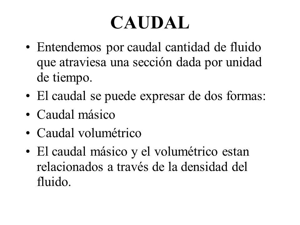 CAUDAL Entendemos por caudal cantidad de fluido que atraviesa una sección dada por unidad de tiempo.