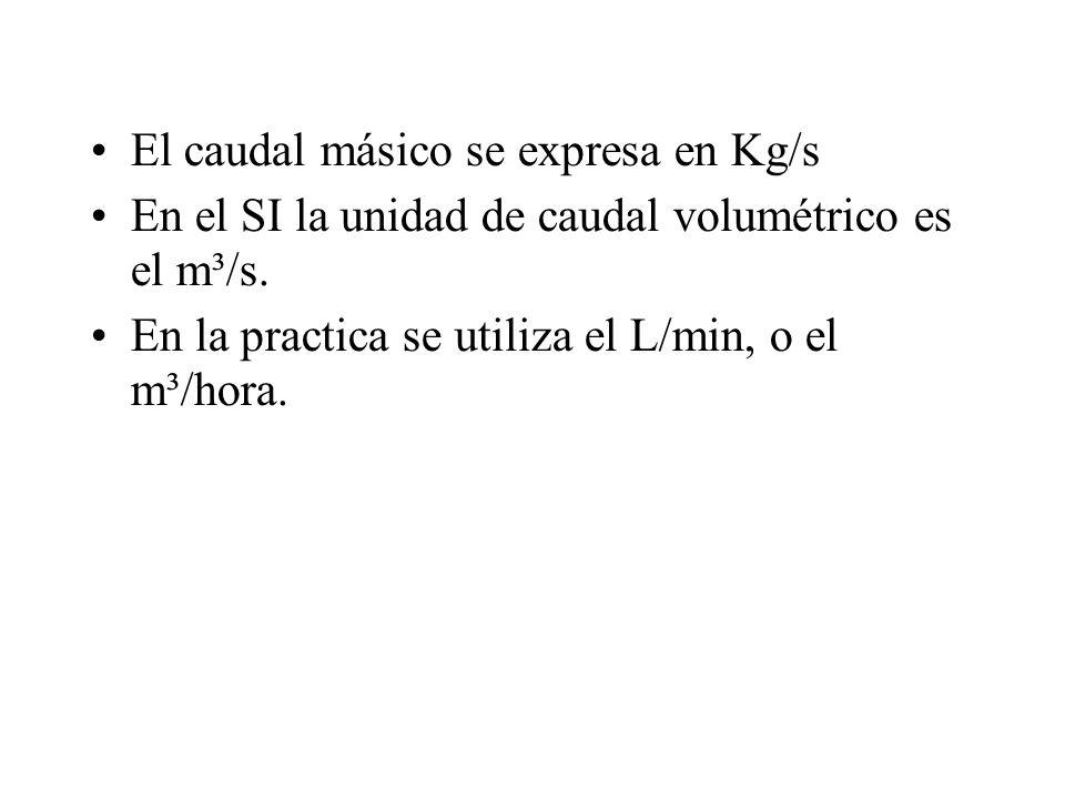 El caudal másico se expresa en Kg/s