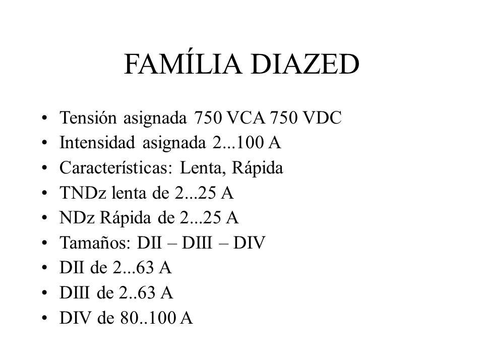 FAMÍLIA DIAZED Tensión asignada 750 VCA 750 VDC