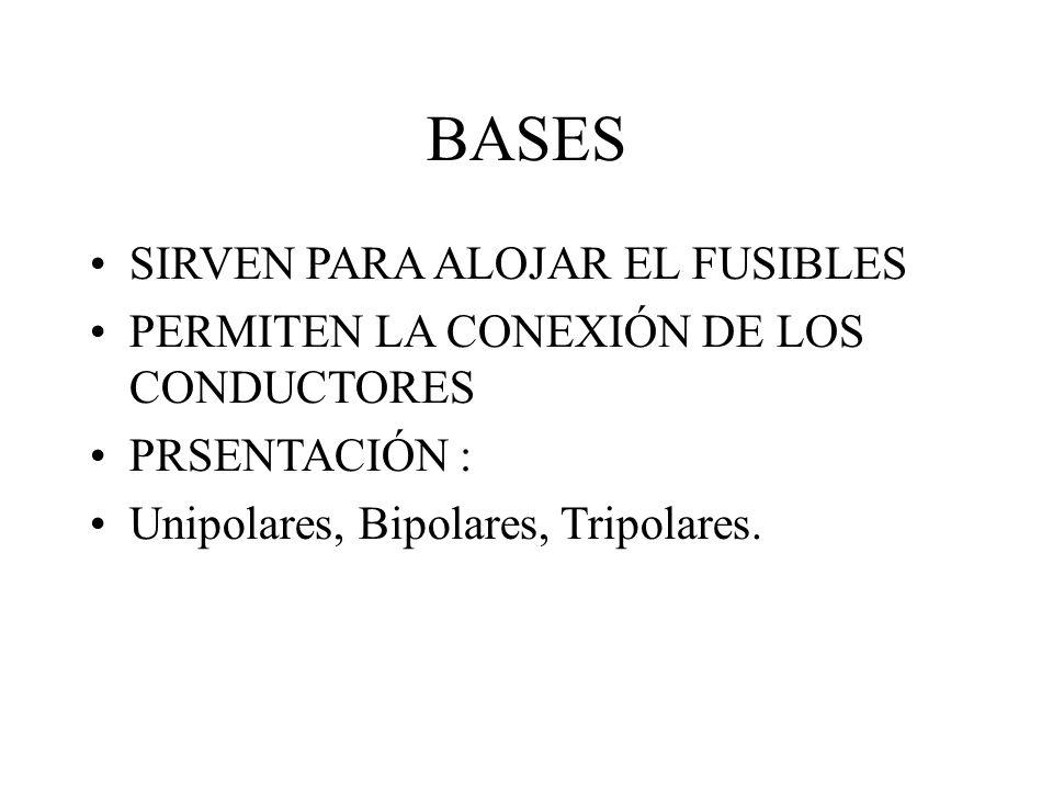 BASES SIRVEN PARA ALOJAR EL FUSIBLES