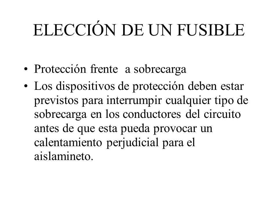 ELECCIÓN DE UN FUSIBLE Protección frente a sobrecarga