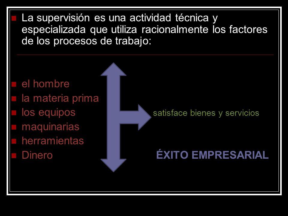 La supervisión es una actividad técnica y especializada que utiliza racionalmente los factores de los procesos de trabajo: