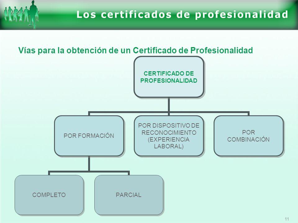 Vías para la obtención de un Certificado de Profesionalidad