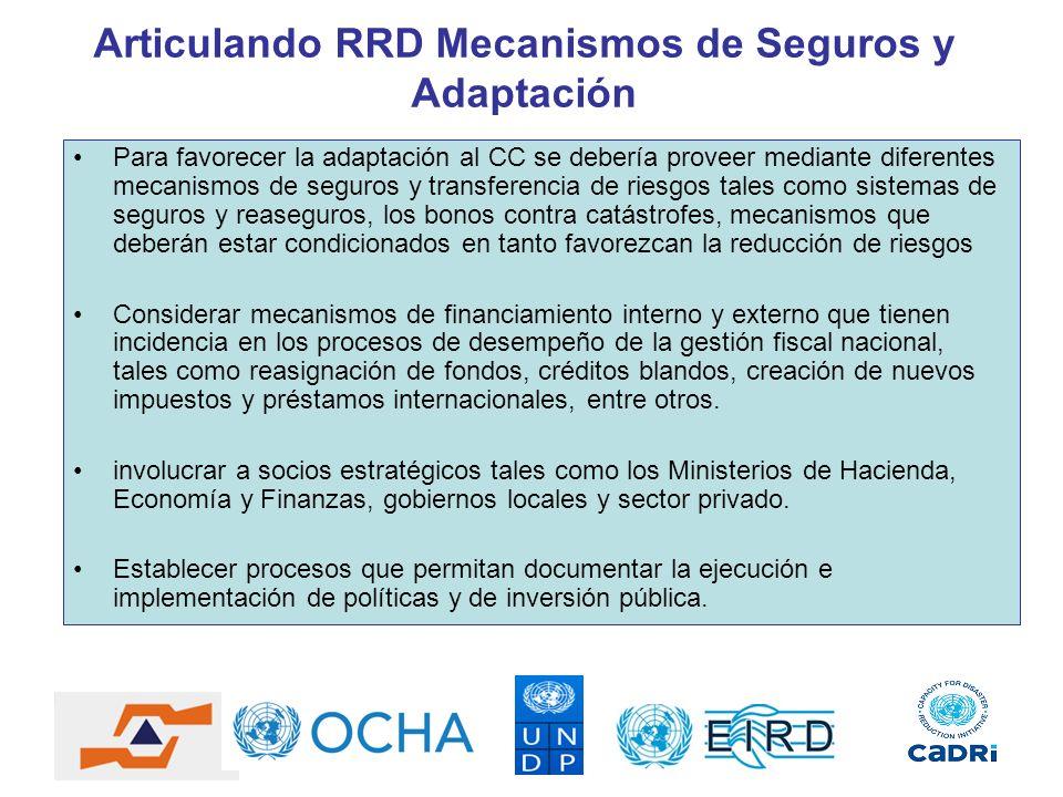 Articulando RRD Mecanismos de Seguros y Adaptación